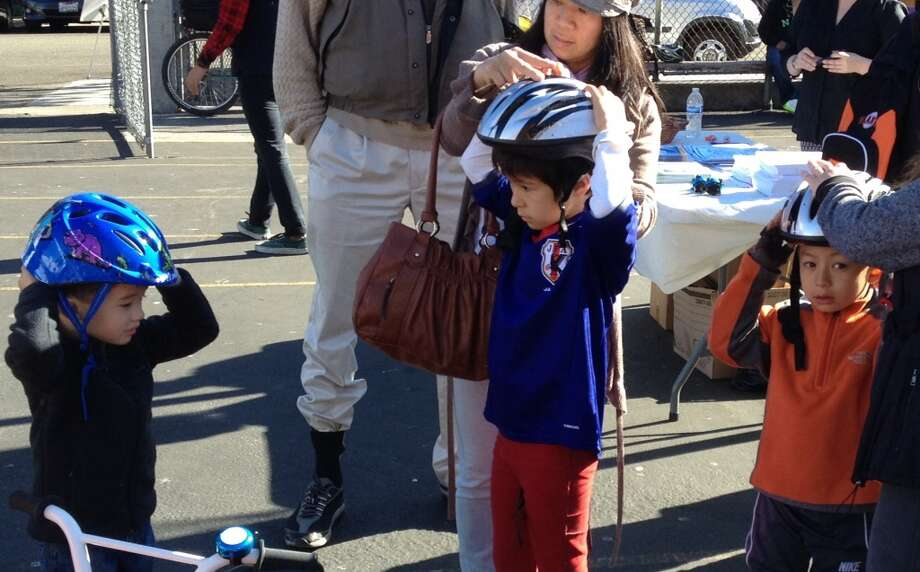 Proper helmet fitting is important.  The first 300 kids received free helmets.
