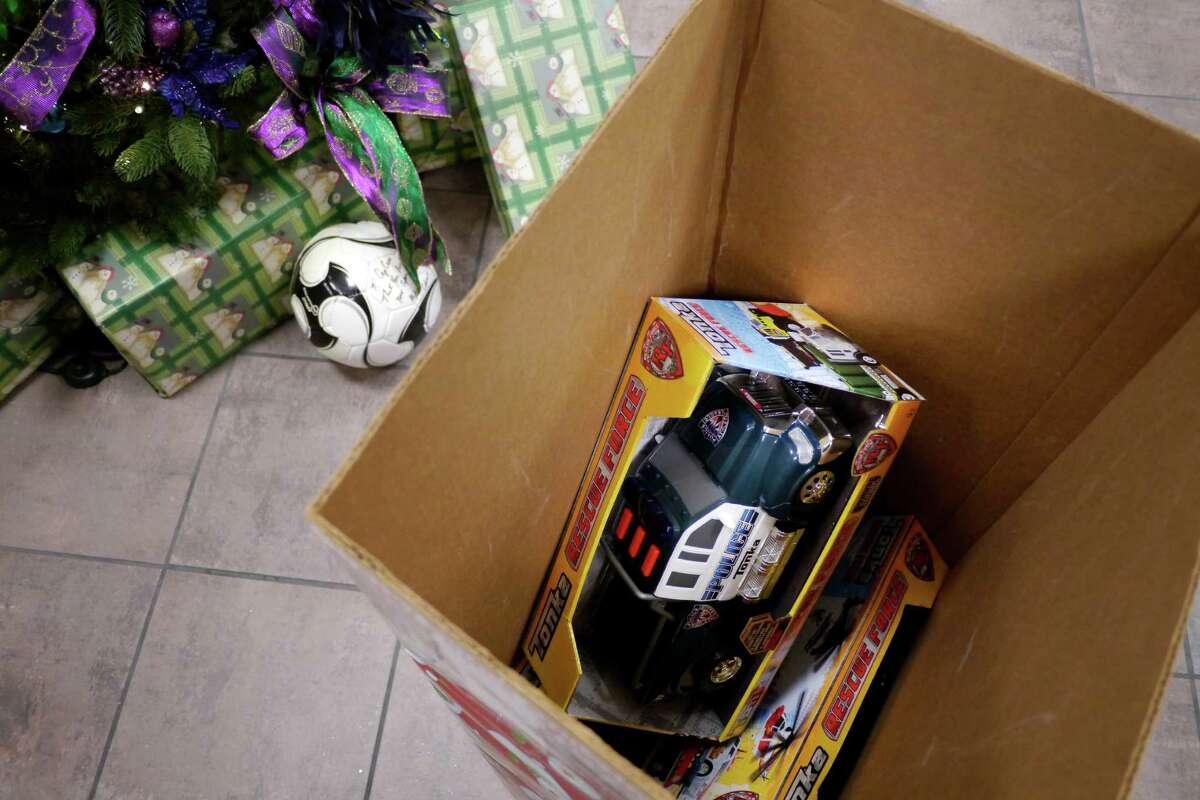 A view of some donated toys for the Albany PAL toy drive at an event held at the Cap Com Federal Credit Union on Tuesday, Nov. 19, 2013 in Albany, NY. Each year Albany PAL and organizations working with them provide more than 2,500 toys to needy children during the holidays. (Paul Buckowski / Times Union)