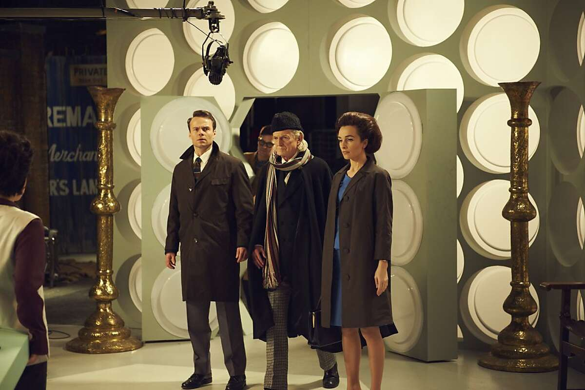 JAMIE GLOVER as William Russell, DAVID BRADLEY as William Hartnell and JEMMA POWELL as Jacqueline Hill in,