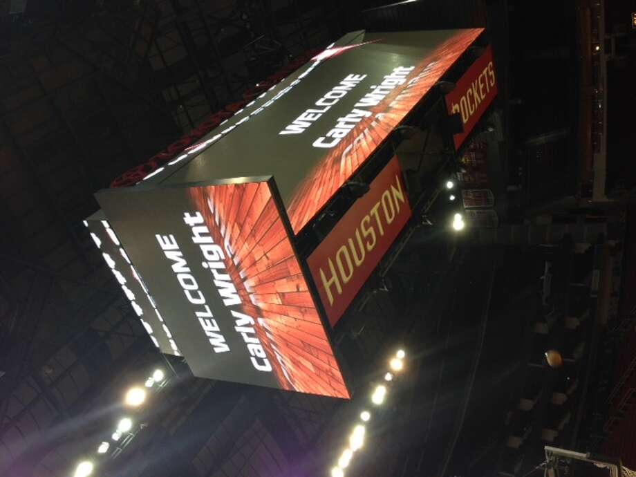 The Rockets welcome Carly Wright on their video board. Photo: Jenny Dial Creech, Houston Chronicle