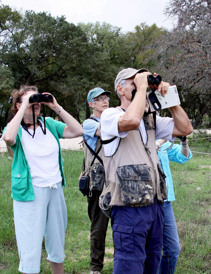 Patsy Inglet, center, leads a group of birders at the Cibolo Nature Center and Farm. Volunteers are sought by the CNC for winter prairie bird surveys in December, January and February. Photo: Courtesy Photo
