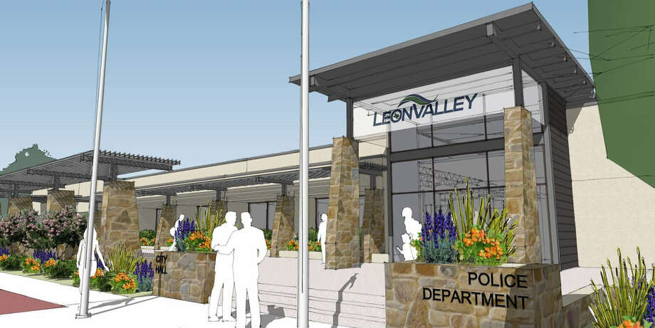 As currently envisioned, the entrance to the renovated Leon Valley City Hall would have a trellis-covered walkway leading to a plaza. Photo: Courtesy Leon Valley