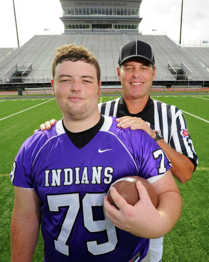 Port Neches-Groves offensive lineman Gabe Langlois has been around football his entire life because his father, John, is a referee in the SEC, arguably the best conference in all of college football. John Langlois has seen great offensive linemen and has given advice to his son, who is currently a sophomore offensive lineman at LSU. Enterprise file photo Photo: Valentino Mauricio / Beaumont
