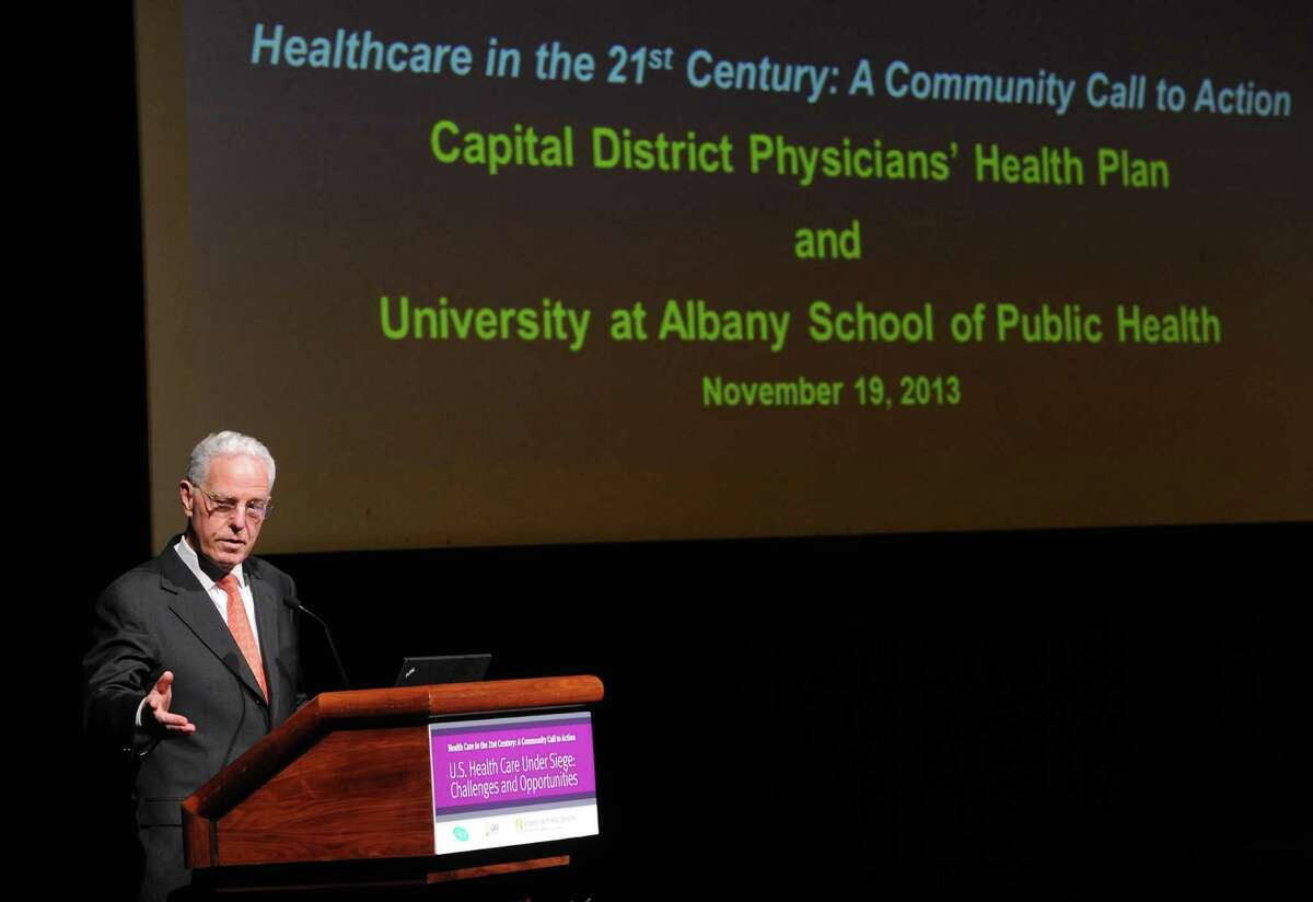 Uwe Reinhardt, a world-renowned health economist from Princeton University, delivers his speech, U.S. Health Care under Siege: Challenges and Opportunities, at UAlbany on Tuesday Nov. 19, 2013 in Albany, N.Y. (Michael P. Farrell/Times Union)