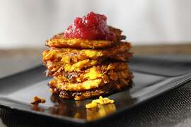 Sweet Potato Latkes as seen in San Francisco, California on Wednesday November 13, 2013. Drink styled by Lauren Reuthinger and Jillian Welsh.