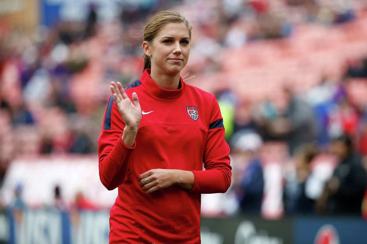 SAN FRANCISCO, CA - OCTOBER 27: Alex Morgan of the of the U.S. Women's National Team waves to fans before an international friendly match against New Zealand on October 27, 2013 at Candlestick Park in San Francisco, California. (Photo by Stephen Lam/Getty Images)