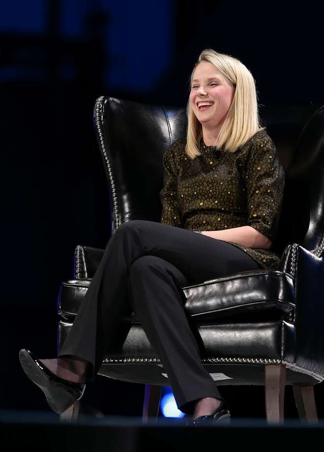 Yahoo CEO Marissa Mayer speaks during a conversation with Salesforce chairman and CEO Marc Benioff at the 2013 Dreamforce conference on November 19, 2013 in San Francisco, California. The annual Dreamforce conference runs through November 21. Photo: Justin Sullivan, Getty Images