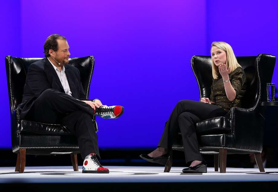 Yahoo CEO Marissa Mayer (R) speaks during a conversation with Salesforce chairman and CEO Marc Benioff (L) at the 2013 Dreamforce conference on November 19, 2013 in San Francisco, California. The annual Dreamforce conference runs through November 21. Photo: Justin Sullivan, Getty Images