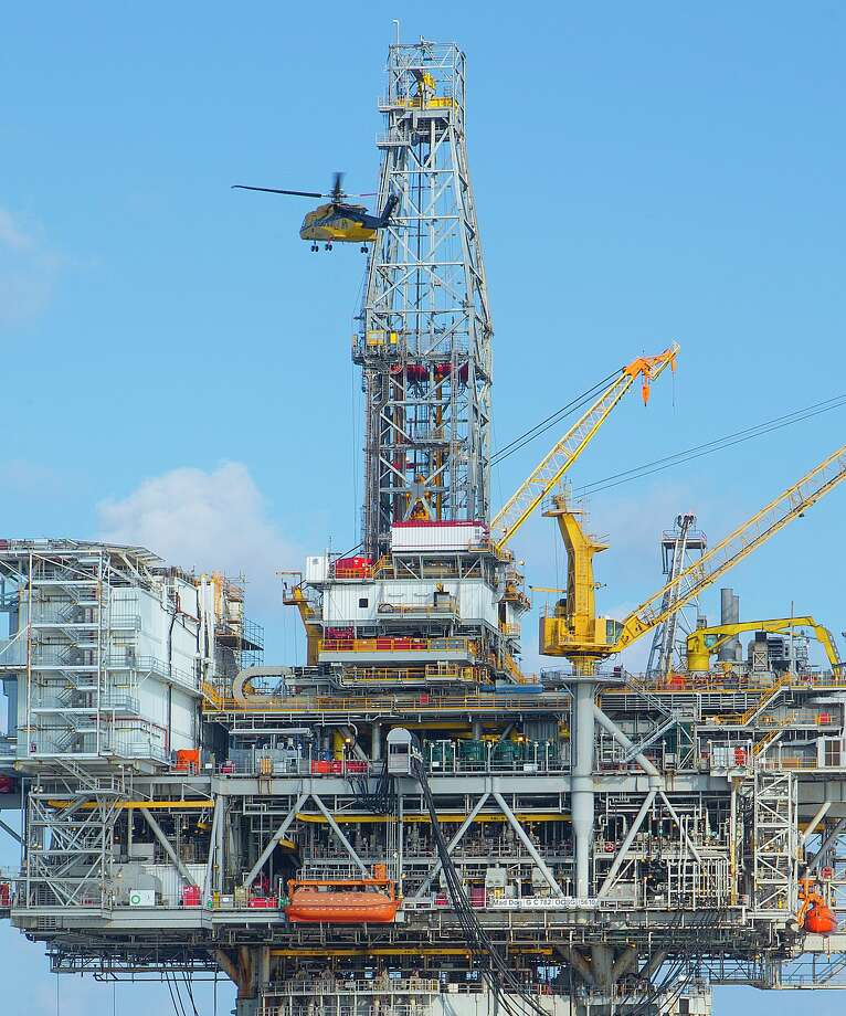 This rig on BP's Mad Dog platform, reconstructed after damage from Hurricane Ike in 2008, has restarted its drilling.