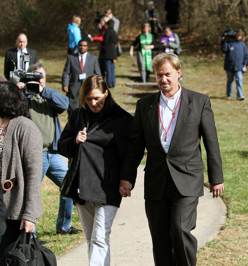 The Rev. Frank Schaefer and wife, Bridgett Schaefer, walk to lunch during a break in his penalty hearing at a United Methodist retreat in Spring City, Pa. Photo: Chris Knight / Associated Press