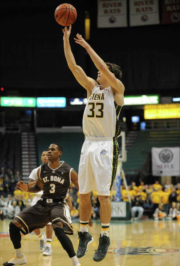 Siena's Rob Poole puts up a 3pt shot during their men's college basketball game against St. Bonaventure at the Times Union Center on Tuesday Nov. 19, 2013 in Albany, N.Y. (Michael P. Farrell/Times Union) Photo: Michael P. Farrell / 00024676A