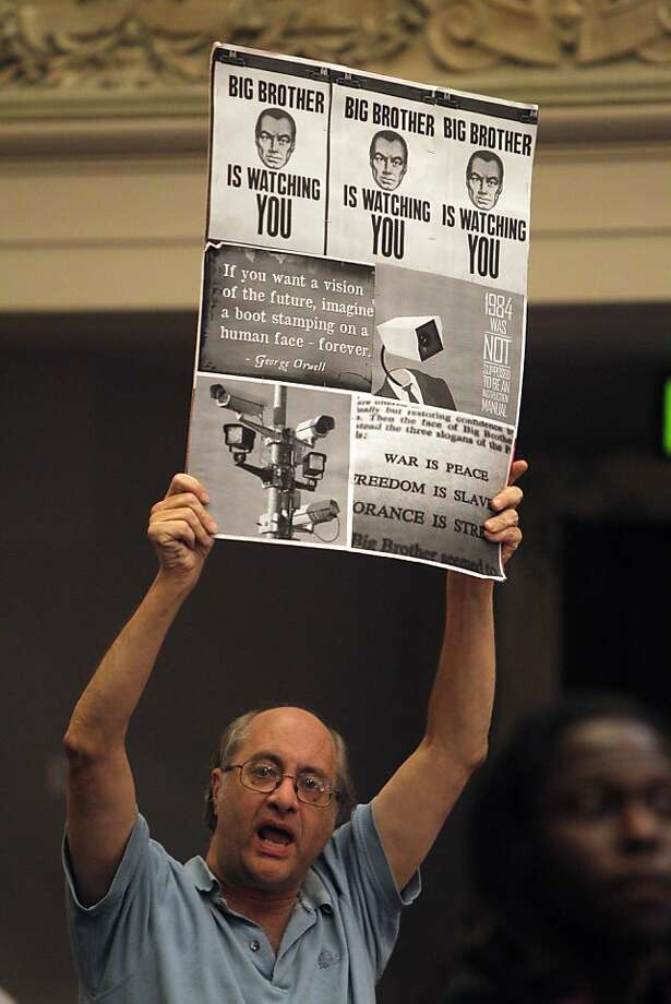 J.P. Massar protests the proposed Domain Awareness Center at an Oakland City Council meeting. Photo: Carlos Avila Gonzalez, The Chronicle