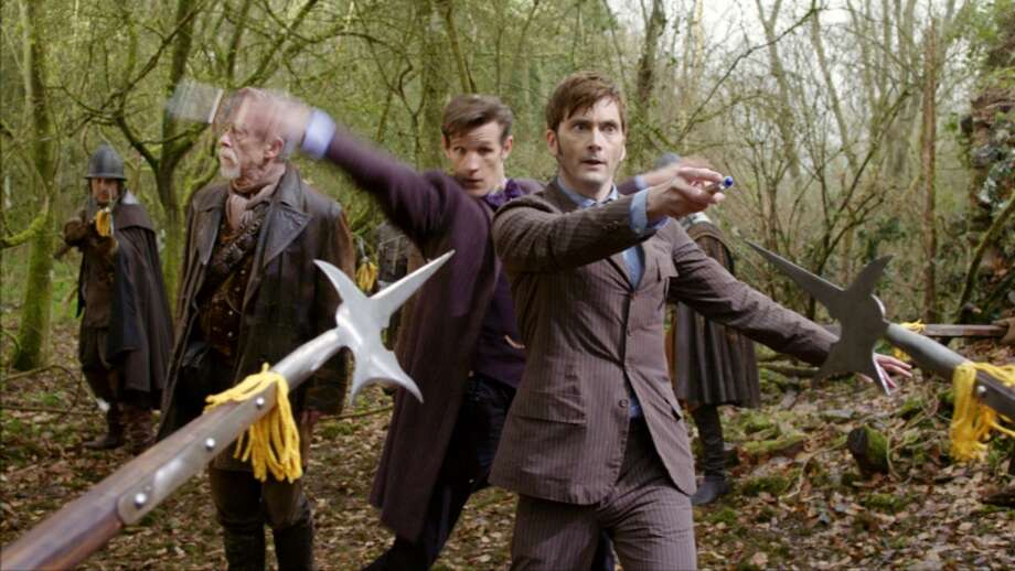 JOHN HURT as The Doctor, MATT SMITH as the Eleventh Doctor and DAVID TENNANT as the Tenth Doctor in the 50th Anniversary Special - The Day of the Doctor. Photo: SCREENGRAB, BBC/BBC WORLDWIDE