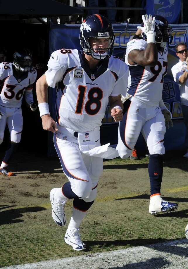 1. Broncos (9-1) Last week: 2Peyton Manning is on pace to throw 54 TD passes and 9 interceptions for a team that's averaging 39 points a game. Photo: John Cordes, Associated Press
