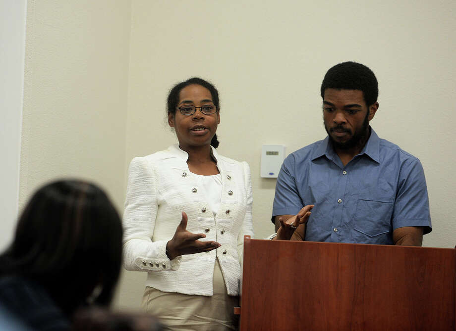 Inspiring the nation with their personal victory over obesity, nationally-recognized bloggers Angela and Willie Gillis spoke to women residing in the Beaumont Housing Authority Complex, Tuesday, at the Regent 1 Community Room, during the WISE Women Inspiring, Serving and Educating Women monthly meeting and Thanksgiving Feast. Michael Rivera/@michaelrivera88