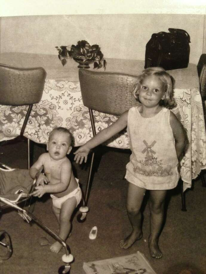 Sisters Kim and Liz ! Before the family arrives. 1968 I was 4 and my sister was not even 1.  Kim Langmaid