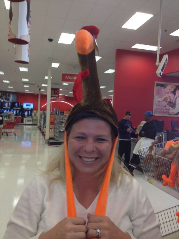 My daughter, Heather, and I were shopping and she could not resist trying on the turkey hat! We loved it!  Sharon White