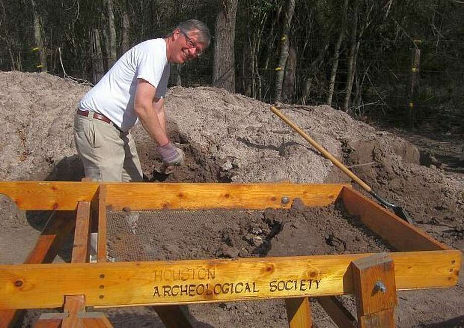 Gregg Dimmick digging into the history of Texas. Photo: Houston Archeological Society Photo