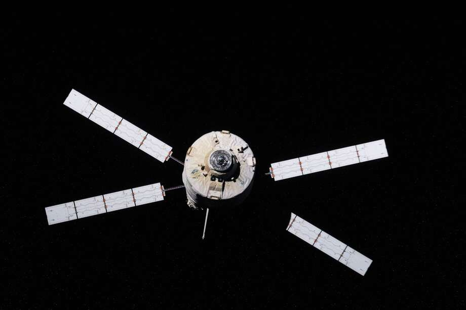 "Sept. 28, 2012 — European Space Agency's ""Edoardo Amaldi"" Automated Transfer Vehicle-3 (ATV-3) begins its relative separation from the International Space Station during the Expedition 33 mission. The ATV-3 undocked from the aft port of the Zvezda Service Module at 5:44 p.m. (EDT) on Sept. 28, 2012. The ATV-3 is scheduled to deorbit on Oct. 2 for a fiery re-entry over the Pacific Ocean that will destroy the trash-filled spacecraft. Inside the ATV-3 is the Re-Entry Breakup Recorder that will record various data such as temperature, pressure and speed as the resupply craft burns up during its return to Earth. Experts will use that data to design safer and more predictable destructive re-entry techniques. Photo: NASA"