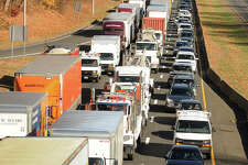 Traffic on I-95 southbound in Norwalk is at a standstill following a tractor trailer accident in Darien on Wednesday, November 20, 2013.