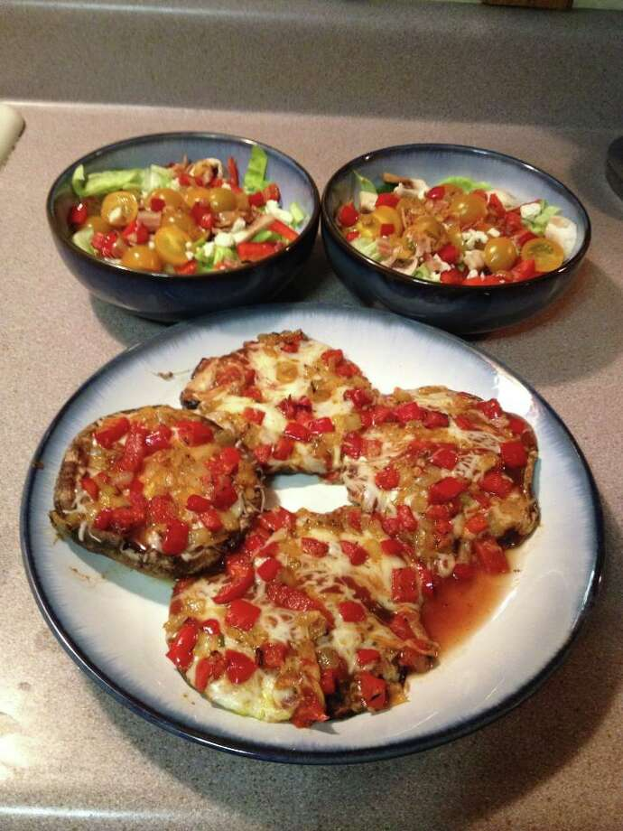 Chris Owen, grilled portobello pizzas with salad, for Weekend Eats on Nov. 21, 2013.