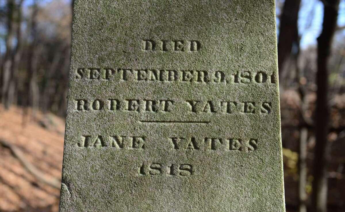 The headstone of Robert Yates. (Will Waldron/Times Union)