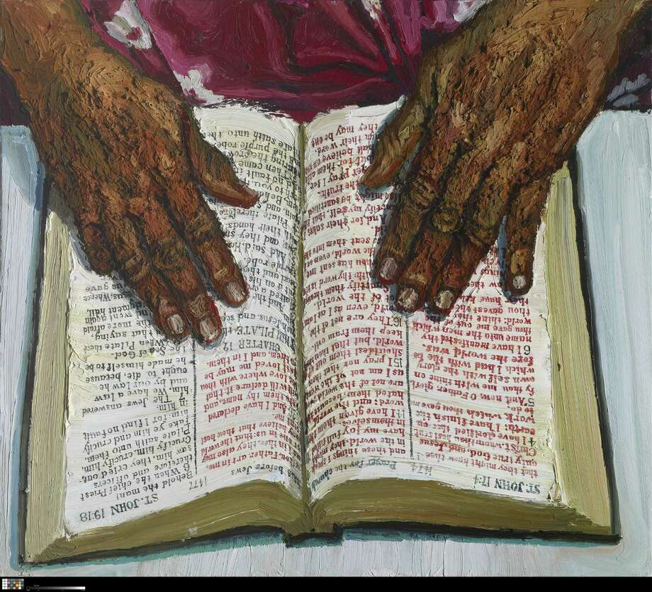 """In his first solo Houston show, Fort Worth's Sedrick Huckaby explores themes of spirituality, family and his African-American Heritage. """"Everyday Grace"""" is on view at Art League Houston through Jan. 4. This is """"Her Hands on the Word.""""  (oil on canvas) Photo: Sedrick Huckaby, Photographer / Photo Credit: Michael Bodycomb 2010"""