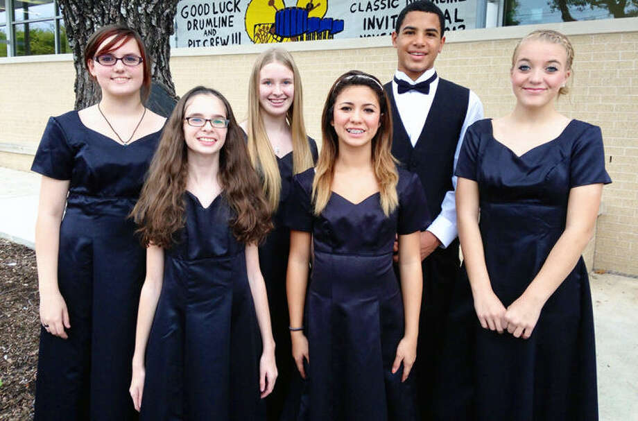 Students from Spring Branch Middle School participated in the Region 12 Honor Choir Clinic and Concert on Nov. 9 at Alamo Heights High School. Shown, left to right, are Lindsey Curtis, Kira Whitehead, Paris Finkbeiner, Anjelica Rios, Trevon Moehrig-Woodard and Ashley Fouse. Not pictured is Amber Powell. Photo: Courtesy Photo