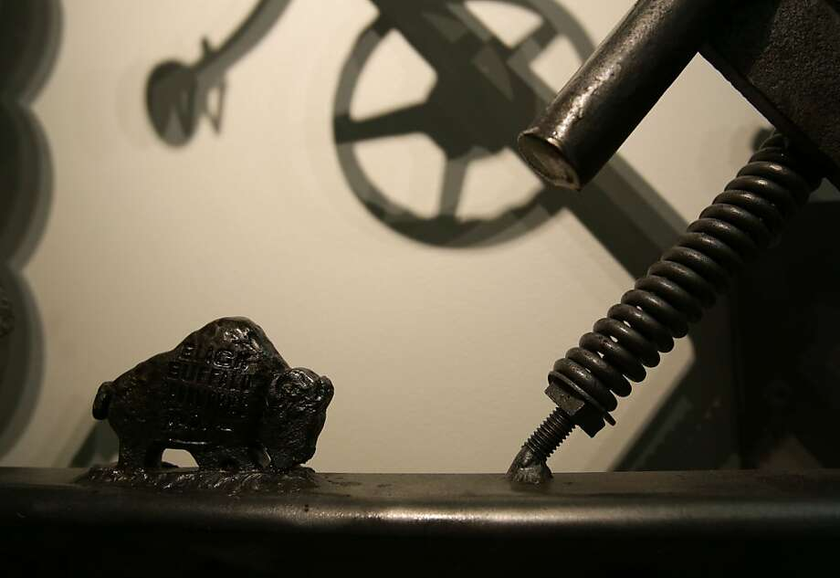 Dylan's signature iron buffalo, which grazes on his sculptures. Photo: Yui Mok, Associated Press