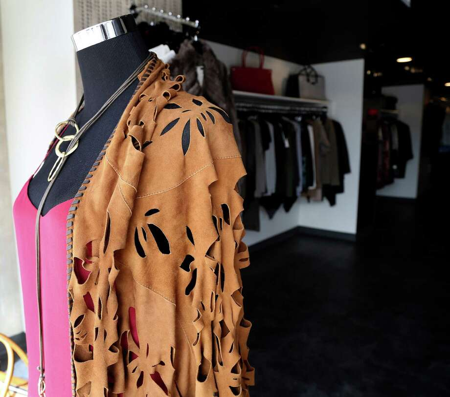 A hand-made leather shawl on display at Azuz in the Rice Village, 2402 Rice Blvd., Friday,Nov. 8, 2013, in Houston. ( Karen Warren / Houston Chronicle ) Photo: Karen Warren, Staff / © 2013 Houston Chronicle