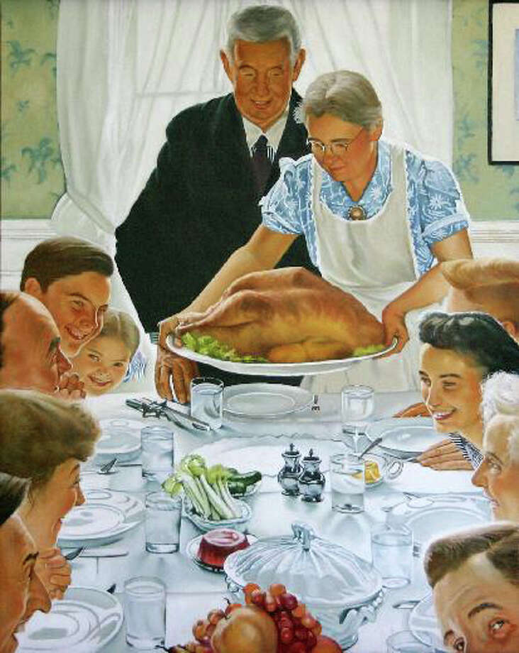 "Norman Rockwell's iconic Thanksgiving scene, ""Freedom from Want."" Photo: File Photo / Westport News"