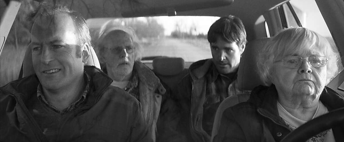 (Left to right) Bob Odenkirk is Ross Grant, Bruce Dern is Woody Grant, Will Forte is David Grant and June Squibb is Kate Grant in NEBRASKA, from Paramount Vantage in association with FilmNation Entertainment, Blue Lake Media Fund and Echo Lake Entertainment. NEB-FF-035