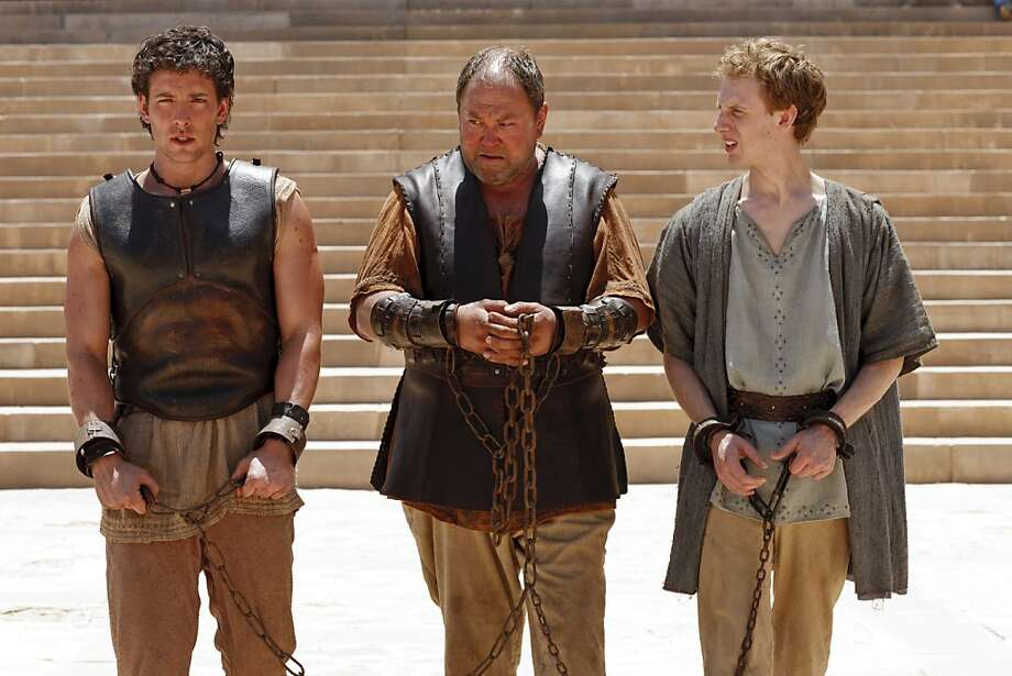 "Jason (JACK DONNELLY), Hercules (MARK ADDY) and Pythagoras (ROBERT EMMS) in, ""Atlantis."" Photo: Nick Briggs, BBC America"