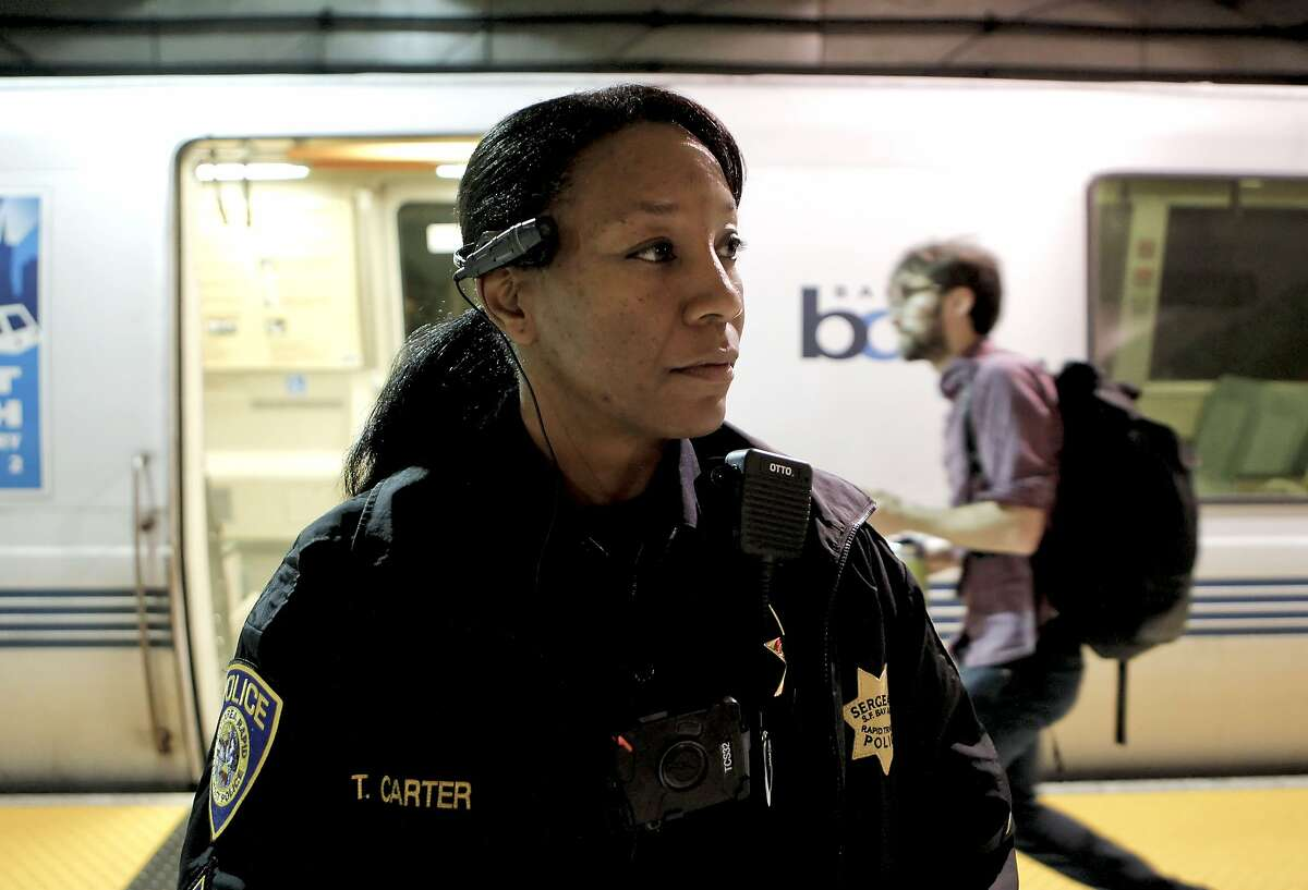 Sergeant Tanzanika Carter with the BART police force, wears the Axon Taser Flex video camera while on patrol in the Embarcadero BART station in San Francisco, Ca., on Wednesday Nov. 20, 2013. San Francisco Police officers will also start using the body mounted video cameras very soon.