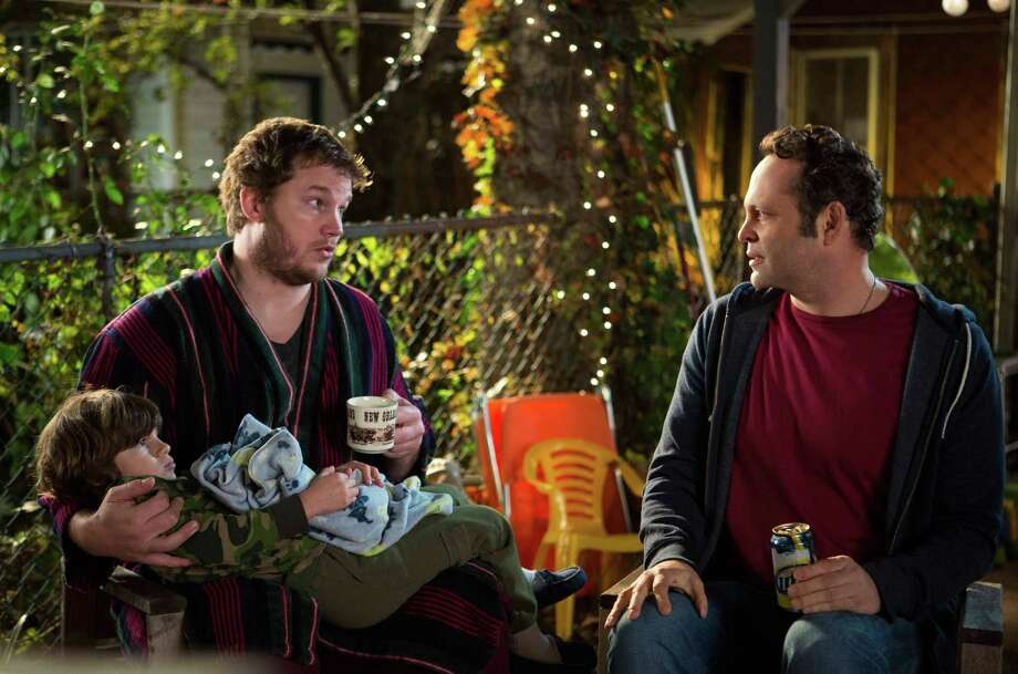 "The performance by Chris Pratt (left) is a bright spot in ""Delivery Man,"" which stars Vince Vaughn as a good-hearted underachiever and former sperm donor. Photo: Disney-DreamWorks II Distribution Co."