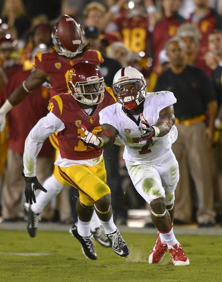 Stanford wide receiver Ty Montgomery, right, can't get to a ball intended for him as Southern California safety Dion Bailey during the second half of an NCAA college football game, Saturday, Nov. 16, 2013, in Los Angeles. USC won 20-17. (AP Photo/Mark J. Terrill) Photo: Mark J. Terrill, Associated Press