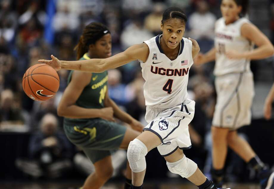 Connecticut's Moriah Jefferson drives to the basket during the first half of an NCAA college basketball game against Oregon, Wednesday, Nov. 20, 2013, in Hartford, Conn. Photo: AP Photo/Jessica Hill