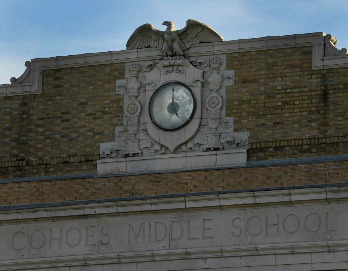 The clock on the Cohoes Middle School, which used to be the city's high school. (Skip Dickstein/Times Union)