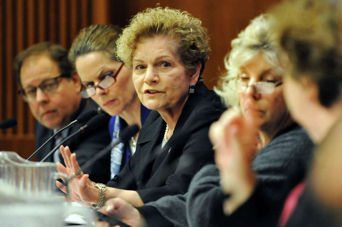 Assemblywoman Ellen C. Jaffee, center, voices concern over student data collection on Wednesday, Nov. 20, 2013, at the Legislative Office Building in Albany, N.Y. Assemblyman Thomas Abinanti, left, and Assemblywomen Patricia Fahy, second from left, and Didi Barrett join her. (Cindy Schultz / Times Union)