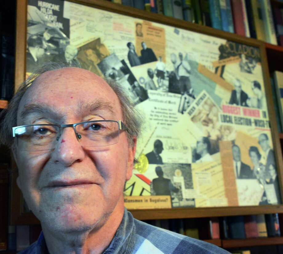Bern Rotman, a TV reporter in New Orleans in the early 1960s, before a collage depicting those days at his home Wednesday Nov. 20, 2103, in Niskayuna, NY.  (John Carl D'Annibale / Times Union) Photo: John Carl D'Annibale / 00024722A