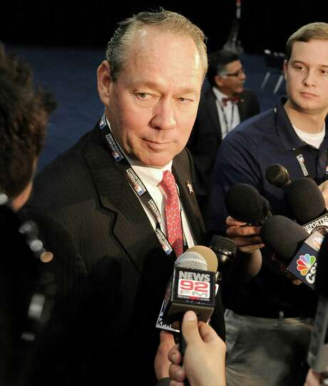 FILE - In this June 19, 2013, file photo, Houston Astros Owner Jim Crane speaks with reporters in Houston. Crane remains hopeful that Comcast SportsNet Houston will agree to pay his team what he calls a fair amount for its media rights and they can boost carriage after a season where only 40 percent of the city could view the games.  (AP Photo/Pat Sullivan, File) Photo: Pat Sullivan, STF / AP