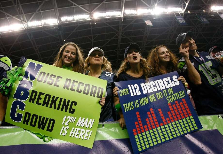 """8. The 12th Man may try again for a noise recordSeahawks fans set a Guinness World Record for loudest crowd roar at an open-air sports event on Sept. 15, when Seattle hosted the rival San Francisco 49ers and destroyed them 29-3. The 12th Man registered 136.6 decibels -- nearly as loud as a Boeing 747 -- and broke the previous record of 131.76 decibels, set at a 2011 soccer game in Turkey. But Seattle's fans held the record for less than a month; on Oct. 16, Kansas City fans surpassed the 12th Man, reaching 137.5 decibels during the Chiefs' 24-7 victory over the Oakland Raiders that Sunday.  After their record was broken, Seahawks fans almost immediately jumped on the idea of attempting a record later in the season. The fan group that organized Seattle's first attempt, Volume 12, landed on the """"Monday Night Football"""" game as the best option. But the group's organizer, Joe Tafoya (a former Seahawks player himself), said Wednesday that he isn't sure the record attempt will happen Dec. 2 against New Orleans. He is still working out details with the Seahawks organization and with fans on Volume 12's Facebook page. Seattlepi.com will keep you posted on whether a second attempt will happen, and when. Photo: Jonathan Ferrey, Getty Images"""