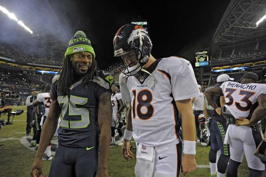 10. Seattle and Denver are favored for the Super Bowl  At this point in the season, most NFL pundits agree that the best two teams are the Seahawks and the Broncos, and they will meet in the Super Bowl in February. Of course, this is the NFL and you never know what could happen. But oddsmakers are giving the Seahawks a 4/1 chance of making the Big Game, and the Broncos a 10/3 chance. Things are looking good for Seattle.  It would be the team's second-ever appearance in the Super Bowl, after losing to the Steelers in February 2006. Yet these Seahawks appear superior to their 2005 compatriots, and head coach Pete Carroll and GM John Schneider have built a roster chock-full of talent that is capable of blowing out the best teams on a good day. With the way this season is going, and all the hype surrounding the Seahawks, it seems safe to say it would be a disappointment if the Hawks don't make it to the Super Bowl. Can they do it? Photo: John Leyba, Denver Post / Getty Images