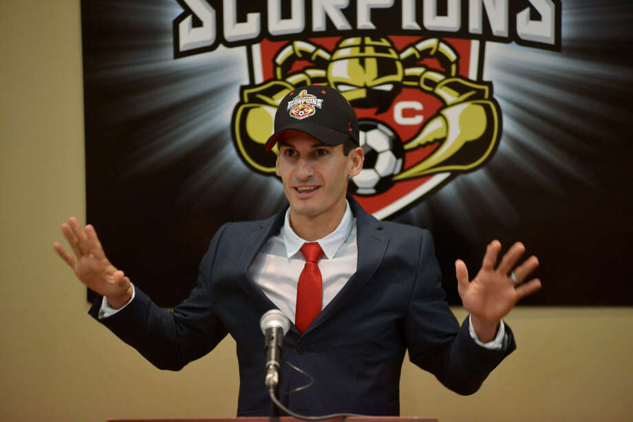 "Alen Marcina addresses the media as the Scorpions' permanent coach. ""I know there are high expectations of me and the club, and I expect nothing less than a championship,"" he said. Photo: Robin Jerstad / For The Express-News"