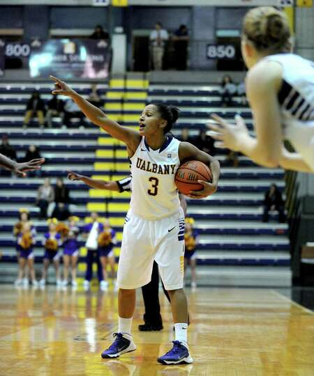 UAlbany's Margarita Rosario brings the ball down the court during their womens college basketball ga