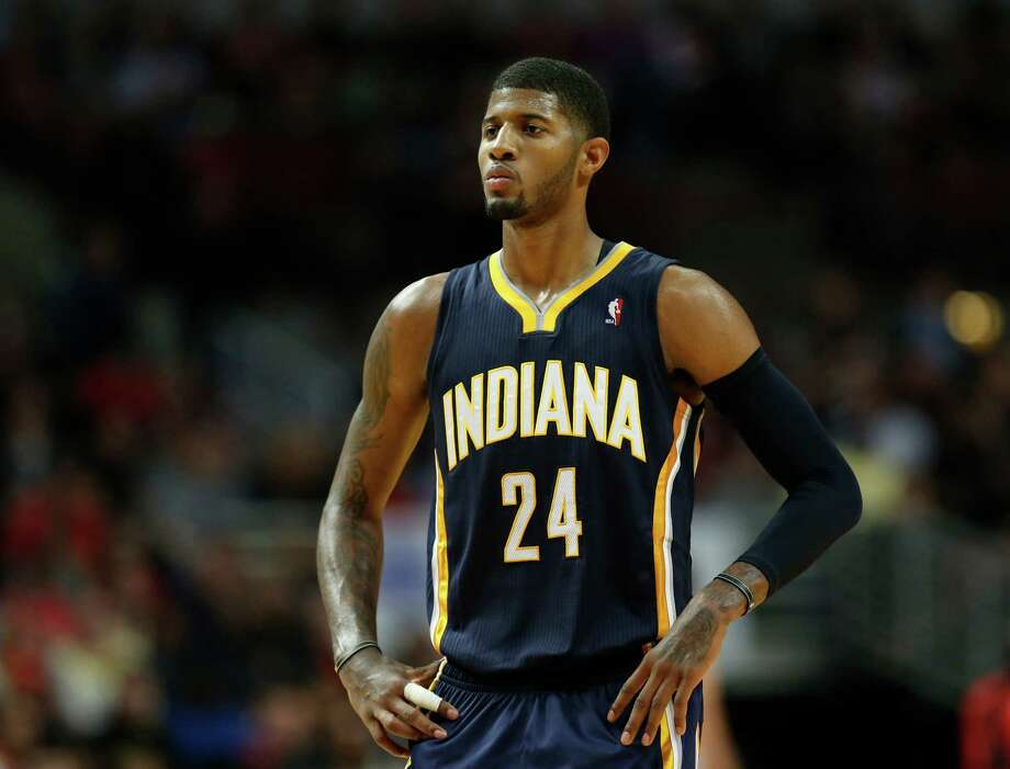 Indiana Pacers forward Paul George during the second half of an NBA basketball game in Chicago, Saturday, Nov. 16, 2013. The Bulls won 110-94. (AP Photo/Kamil Krzaczynski) Photo: Kamil Krzaczynski, FRE / FR136454 AP