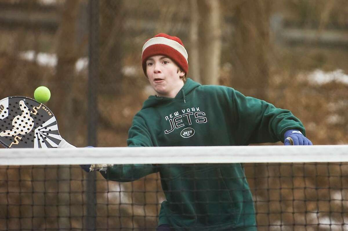 Drew Monroe, 12 of New Canaan, returns a shot during the 2010 Junior National Platform Tennis Championships hosted by the New Canaan Field Club in New Canaan, Conn. on Saturday, Jan. 30, 2010.