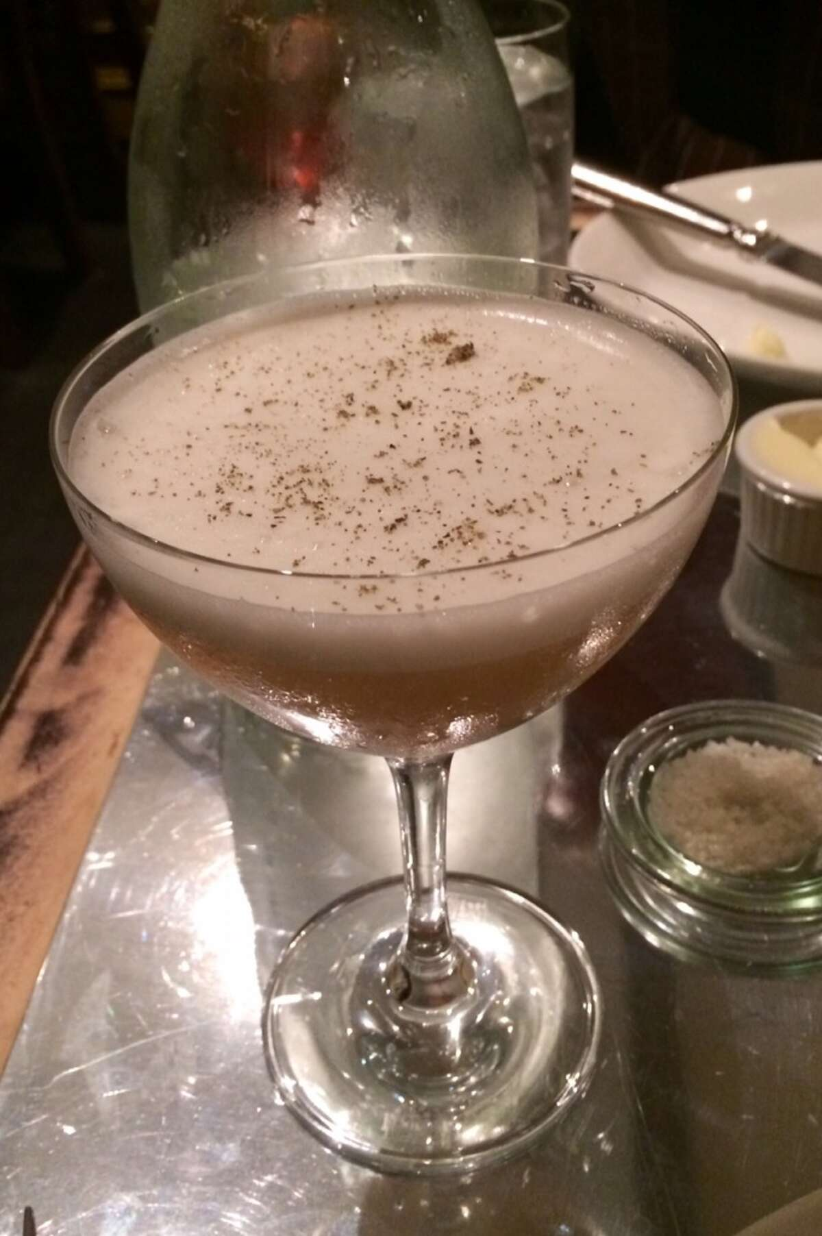 Upgraded Apparatus with whisky, honey lavender shrub and egg white ($13)