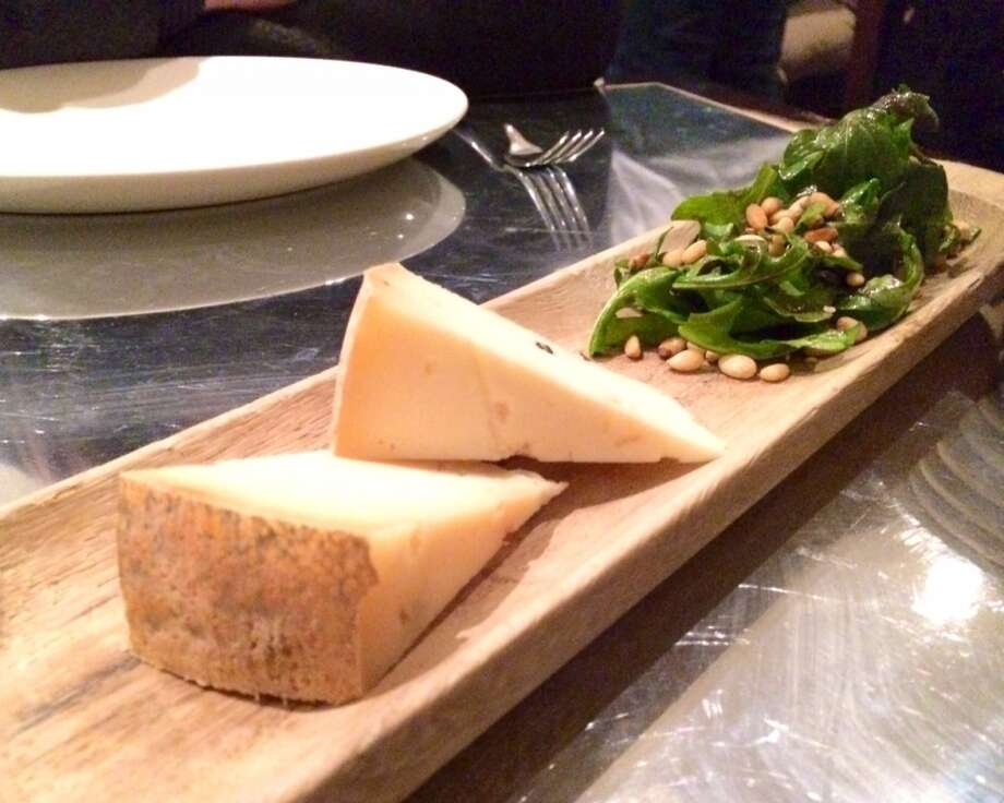Bellwether Farms pepato cheese wth arugula salad