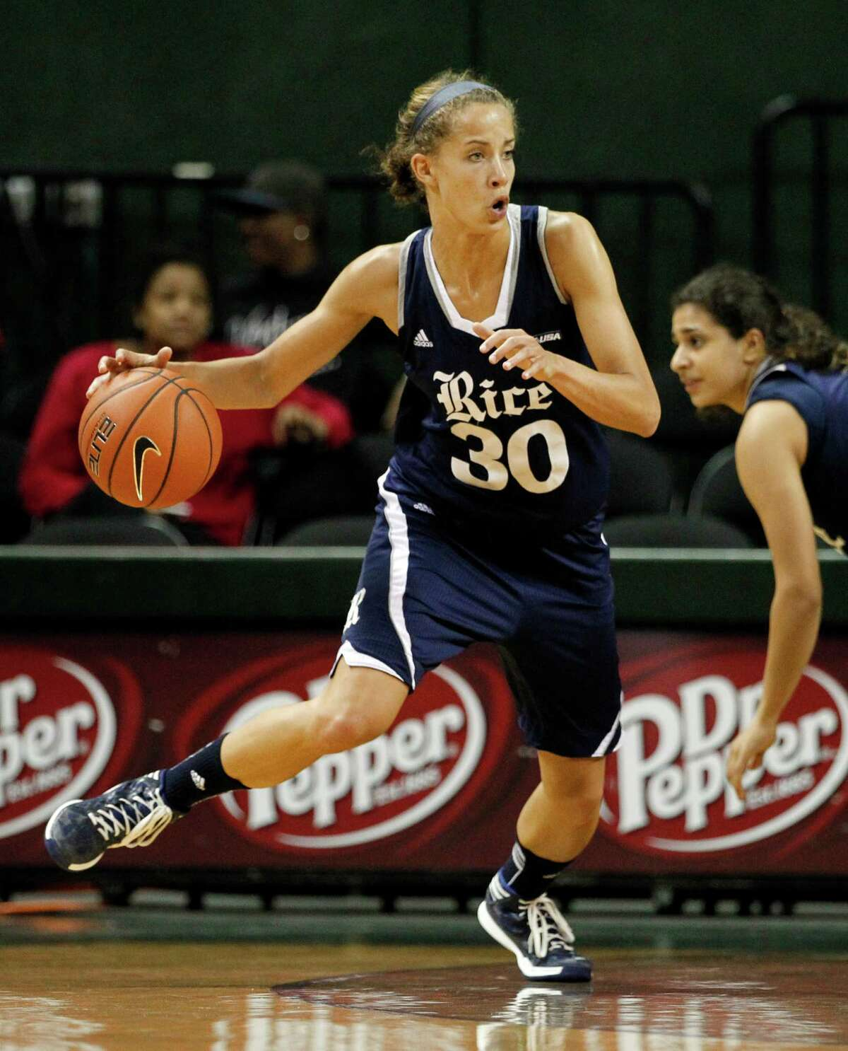 Rice forward Jessica Kuster (30) works the perimeter against Baylor during an NCAA college basketball game, Monday, Nov. 18, 2013, in Waco, Texas. Baylor won 79-46. (AP Photo/Tony Gutierrez)